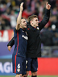 Atletico de Madrid's Koke Resurrecccion (l) and Antoine Griezmann celebrate the victory in the Champions League 2015/2016 Quarter-Finals. April 13,2016. (ALTERPHOTOS/Acero)
