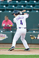 Chris Curley (4) of the Winston-Salem Dash at bat against the Lynchburg Hillcats at BB&T Ballpark on August 5, 2013 in Winston-Salem, North Carolina.  The Dash defeated the Hillcats 5-0.  (Brian Westerholt/Four Seam Images)