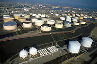 Aerial view of oil refineries and chemical plants next to the Los Angeles Harbor (adjacent to Long Beach.) Environment, Energy, Chemical Industry. Los Angeles California USA Los Angeles Harbor Area.