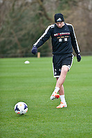 Thursday 20 March 2014<br /> Pictured:Jonjo Shelvey <br /> Re: Swansea City Training at their Fairwood training facility, Swansea, Wales,UK