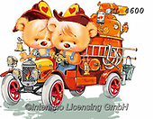 Interlitho-Fabrizio, Comics, CUTE ANIMALS, LUSTIGE TIERE, ANIMALITOS DIVERTIDOS, paintings+++++,bears, firecar,KL4600,#ac#, EVERYDAY ,sticker,stickers,fireman