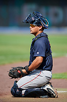 Lowell Spinners catcher Alan Marrero (21) during a game against the Staten Island Yankees on August 22, 2018 at Richmond County Bank Ballpark in Staten Island, New York.  Staten Island defeated Lowell 10-4.  (Mike Janes/Four Seam Images)