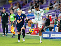 ORLANDO, FL - FEBRUARY 24: Soledad Jaimes #9 of Argentina controls the ball during a game between Argentina and USWNT at Exploria Stadium on February 24, 2021 in Orlando, Florida.