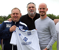 Tv Personality, former Tottenham and Liverpool defector and Enfield FC director Neil Ruddock with Enfield FC Manager Matt Hanning  and  Enfield FC captain Ben Bradbury during a media event at Enfield FC on 27th June 2020