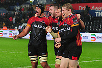 (R-L) Aston Fortuin, Jerry Sexton, Ruan Lerm and Scott Van Breda of Southern Kings celebrate winning at full time during the Guinness Pro14 Round 6 match between the Ospreys and Southern Kings at the Liberty Stadium in Swansea, Wales, UK. Saturday 09 November 2019