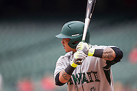 Hawaii Rainbow Warriors outfielder Kaeo Aliviado (2) at bat during the NCAA baseball game against the Nebraska Cornhuskers on March 7, 2015 at the Houston College Classic held at Minute Maid Park in Houston, Texas. Nebraska defeated Hawaii 4-3. (Andrew Woolley/Four Seam Images)