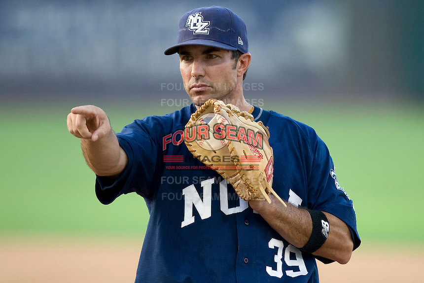New Orleans Zephyrs first baseman Mike Cervenak #39 points to a teammate during a game against the Round Rock Express at the Dell Diamond on July 20, 2011 in Round Rock, Texas.  New Orleans defeated Round Rock 14-11.  (Andrew Woolley/Four Seam Images)