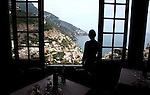 Restaurant Da Constantino in the hills above Positano town and the Mediterranean Sea, on the Amalfi Coast in the Gulf of Naples