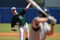 Dartmouth Big Green pitcher Michael Johson #21 delivers a pitch during a game vs. the Long Island Blackbirds at Chain of Lakes Park in Winter Haven, Florida;  March 20, 2011.  Dartmouth defeated Long Island 6-0.  Photo By Mike Janes/Four Seam Images