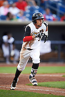 Quad Cities River Bandits shortstop Kristian Trompiz (3) runs to first base during a game against the Bowling Green Hot Rods on July 24, 2016 at Modern Woodmen Park in Davenport, Iowa.  Quad Cities defeated Bowling Green 6-5.  (Mike Janes/Four Seam Images)