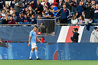 FOXBOROUGH, MA - SEPTEMBER 11: Alfredo Morales #7 of New York City FC leaves the field after second yellow card ejection during a game between New York City FC and New England Revolution at Gillette Stadium on September 11, 2021 in Foxborough, Massachusetts.