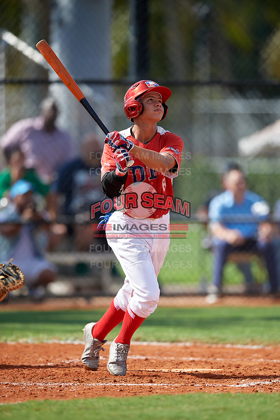 Jose De Jesus (8) during the Dominican Prospect League Elite Florida Event at Pompano Beach Baseball Park on October 15, 2019 in Pompano beach, Florida.  (Mike Janes/Four Seam Images)