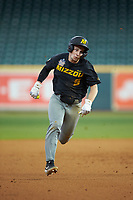 Mark Vierling (9) of the Missouri Tigers hustles towards third base against the Texas Longhorns in game eight of the 2020 Shriners Hospitals for Children College Classic at Minute Maid Park on March 1, 2020 in Houston, Texas. The Tigers defeated the Longhorns 9-8. (Brian Westerholt/Four Seam Images)