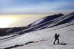 Ski ascent of Mount Etna, Sicily, Italy, March 2008.