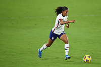 ORLANDO, FL - JANUARY 18: Margaret Purce #23 of the United States moves with the ball during a game between Colombia and USWNT at Exploria Stadium on January 18, 2021 in Orlando, Florida.