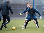St Johnstone Training…27.03.18<br />Manager Tommy Wright is closed down by George Williams during training this morning at McDiarmid Park ahead of tomorrow's game against Hamilton Accies<br />Picture by Graeme Hart.<br />Copyright Perthshire Picture Agency<br />Tel: 01738 623350  Mobile: 07990 594431