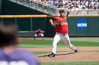 Texas Tech Red Raiders pitcher Steven Gingery (47) delivers a pitch to the plate against the TCU Horned Frogs in Game 3 of the NCAA College World Series on June 19, 2016 at TD Ameritrade Park in Omaha, Nebraska. TCU defeated Texas Tech 5-3. (Andrew Woolley/Four Seam Images)