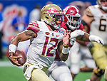 Florida State quarterback Deondre Francois scrambles against Alabama in the second half of the Chick-fil-A Kickoff game at the new Mercedes-Benz Stadium in Atlanta, Georgia on September 2, 2017. Alabama defeated Florida State 24-7.  Photo by Mark Wallheiser/UPI