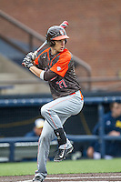 Bowling Green Falcons third baseman Nick Glanzman (27) at bat against the Michigan Wolverines on April 6, 2016 at Ray Fisher Stadium in Ann Arbor, Michigan. Michigan defeated Bowling Green 5-0. (Andrew Woolley/Four Seam Images)