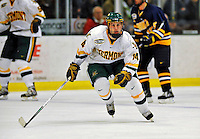 16 November 2008: University of Vermont Catamount forward Brian Roloff, a Junior from West Seneca, NY, in action against the visiting Merrimack College Warriors at Gutterson Fieldhouse, in Burlington, Vermont. The Catamounts defeated the Warriors 2-1 in front of a near-capacity crowd of 3,813...Mandatory Photo Credit: Ed Wolfstein Photo