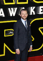 Actor Simon Pegg during the STAR WARS: 'The Force Awakens' EUROPEAN PREMIERE at Odeon, Empire & Vue Cinemas, Leicester Square, England on 16 December 2015. Photo by David Horn / PRiME Media Images