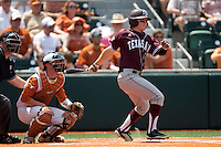Texas A&M Aggies outfielder Chance Bolcerek # swings during the NCAA baseball game against the Texas Longhorns on April 28, 2012 at UFCU Disch-Falk Field in Austin, Texas. The Aggies beat the Longhorns 12-4. (Andrew Woolley / Four Seam Images).