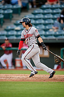 Richmond Flying Squirrels center fielder Ronnie Jebavy (1) follows through on a swing during a game against the Altoona Curve on May 15, 2018 at Peoples Natural Gas Field in Altoona, Pennsylvania.  Altoona defeated Richmond 5-1.  (Mike Janes/Four Seam Images)