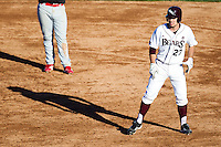 Dylan Becker (27) of the Missouri State Bears leads off first base during a game against the Southern Illinois University- Edwardsville Cougars at Hammons Field on March 10, 2012 in Springfield, Missouri. (David Welker / Four Seam Images)