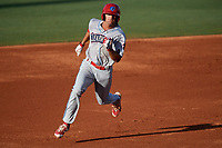 Clearwater Threshers center fielder Mark Laird (6) running the bases during a game against the Bradenton Marauders on July 24, 2017 at LECOM Park in Bradenton, Florida.  Bradenton defeated Clearwater 6-3  (Mike Janes/Four Seam Images)
