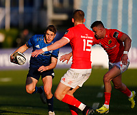 23th April 2021; RDS Arena, Dublin, Leinster, Ireland; Rainbow Cup Rugby, Leinster versus Munster; Jordan Larmour of Leinster tries to get past Mike Haley of Munster