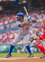 28 July 2013: New York Mets outfielder Eric Young leads off against the Washington Nationals at Nationals Park in Washington, DC. The Nationals defeated the Mets 14-1. Mandatory Credit: Ed Wolfstein Photo *** RAW (NEF) Image File Available ***