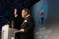 LONDON, ENGLAND - NOVEMBER 01:  Fujio Mitarai, President of the RWC 2019 organizing committee receives the official handover during the World Rugby Awards 2015 at Battersea Evolution on November 1, 2015 in London, England.  (Photo: World Rugby)