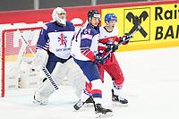 29th May 2021; Olympic Sports Centre, Riga, Latvia; IIHF World Championship Ice Hockey, Czech Republic versus Great Britain;  18 Dominik Kubalik Czech Republic tries to make a screen as Joshua Tetlow Great Britain pushes him away.