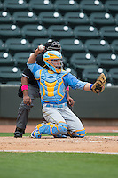 Myrtle Beach Pelicans catcher Victor Caratini (17) throws the ball back to his pitcher during the game against the Winston-Salem Dash at BB&T Ballpark on May 10, 2015 in Winston-Salem, North Carolina.  The Pelicans defeated the Dash 4-3.  (Brian Westerholt/Four Seam Images)