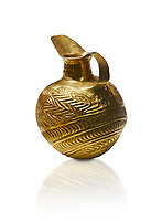 Bronze Age Hattian gold flask from Grave K, possibly a Bronze Age Royal grave (2500 BC to 2250 BC) - Alacahoyuk - Museum of Anatolian Civilisations, Ankara, Turkey. Against a white background