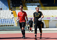 20180228 - LARNACA , CYPRUS :  Belgian goalkeeper coach Sven Cnudde (left) pictured with Justien Odeurs during a women's soccer game between The Belgian Red Flames and the Czech Republic , on wednesday 28 February 2018 at GSZ Stadium in Larnaca , Cyprus . This is the first game in group B for Belgium during the Cyprus Womens Cup , a prestigious women soccer tournament as a preparation on the World Cup 2019 qualification duels. PHOTO SPORTPIX.BE   DAVID CATRY