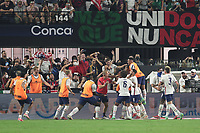 LAS VEGAS, NV - AUGUST 1: Miles Robinson #12 of the United States celebrates scoring with teammates during a game between Mexico and USMNT at Allegiant Stadium on August 1, 2021 in Las Vegas, Nevada.