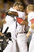 South Carolina's Jackie Bradley Jr. celebrates the win  in Game 10 of the NCAA Division One Men's College World Series on June 24th, 2010 at Johnny Rosenblatt Stadium in Omaha, Nebraska.  (Photo by Andrew Woolley / Four Seam Images)