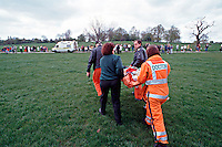HEMS, helicopter emergency medical service, paramedics and doctors have unloaded a patient from the helicopter onto a stretcher to an awaiting ambulance to rush him by road to the crash room of an A&E department. This image may only be used to portray the subject in a positive manner..©shoutpictures.com..john@shoutpictures.com