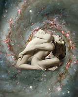 A couple in love among the stars. Fantasy Art, digitally enhanced photography.