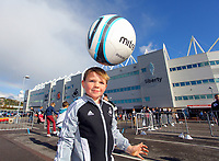 Pictured: Seven year old Ashton Dennis from Swansea. Saturday 13 October 2012<br /> Re: Swansea City FC family day out on the grounds of the Liberty Stadium, south Wales.