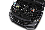 Car stock 2018 Honda Civic Si 5 Door Sedan engine high angle detail view