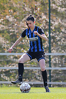 Febe Vanhaecke (3) of Club Brugge in action during a female soccer game between Standard Femina de Liege and Club Brugge YLA on the 2nd matchday in play off 1 of the 2020 - 2021 season of Belgian Scooore Womens Super League , saturday 17 th of April 2021  in Angleur , Belgium . PHOTO SPORTPIX.BE | SPP | SEVIL OKTEM