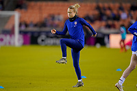 HOUSTON, TX - JANUARY 31: Emily Sonnett #2 of the United States warming up during a game between Panama and USWNT at BBVA Stadium on January 31, 2020 in Houston, Texas.