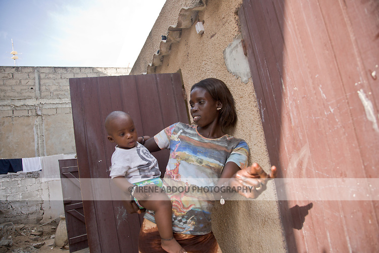 Mother and child in Yoff, a fishing village 30 minutes from Dakar, Senegal
