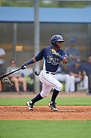 GCL Rays Abiezel Ramirez (2) bats during a Gulf Coast League game against the GCL Pirates on August 7, 2019 at Charlotte Sports Park in Port Charlotte, Florida.  GCL Rays defeated the GCL Pirates 5-3 in the second game of a doubleheader.  (Mike Janes/Four Seam Images)