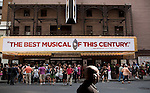 Patrons line up at the Eugene O'Neill Theatre at 230 West 49th Street in the Theatre District to get tickets for the 'Book of Mormon' production, New York City.