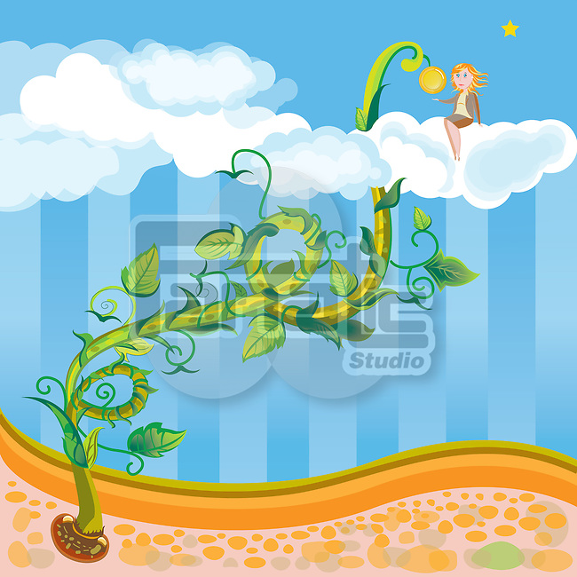 Metaphoric illustration of businesswoman sitting on cloud with bean stalk