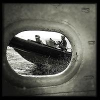 Sea Watch-2.<br /> Die Sea Watch-2 ist zu ihrer 13. SAR-Mission vor der libyschen Kueste.<br /> Im Bild: Die RIB-Mannschaften bei einer Uebungseinheit.<br /> 18.10.2016, Mediterranean Sea<br /> Copyright: Christian-Ditsch.de<br /> [Inhaltsveraendernde Manipulation des Fotos nur nach ausdruecklicher Genehmigung des Fotografen. Vereinbarungen ueber Abtretung von Persoenlichkeitsrechten/Model Release der abgebildeten Person/Personen liegen nicht vor. NO MODEL RELEASE! Nur fuer Redaktionelle Zwecke. Don't publish without copyright Christian-Ditsch.de, Veroeffentlichung nur mit Fotografennennung, sowie gegen Honorar, MwSt. und Beleg. Konto: I N G - D i B a, IBAN DE58500105175400192269, BIC INGDDEFFXXX, Kontakt: post@christian-ditsch.de<br /> Bei der Bearbeitung der Dateiinformationen darf die Urheberkennzeichnung in den EXIF- und  IPTC-Daten nicht entfernt werden, diese sind in digitalen Medien nach §95c UrhG rechtlich geschuetzt. Der Urhebervermerk wird gemaess §13 UrhG verlangt.]