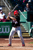 Zach Hawkins (44) of the Southern Illinois University- Edwardsville Cougars at bat during a game against the Missouri State Bears at  Hammons Field on March 10, 2012 in Springfield, Missouri. (David Welker / Four Seam Images)